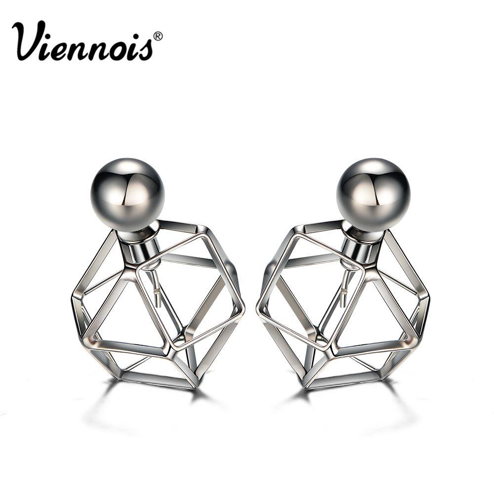 Viennois Gun Color Stud Earrings for Women Vintage Geometric Double Side Earrings Hollow Out Front/Back Earrings q170684