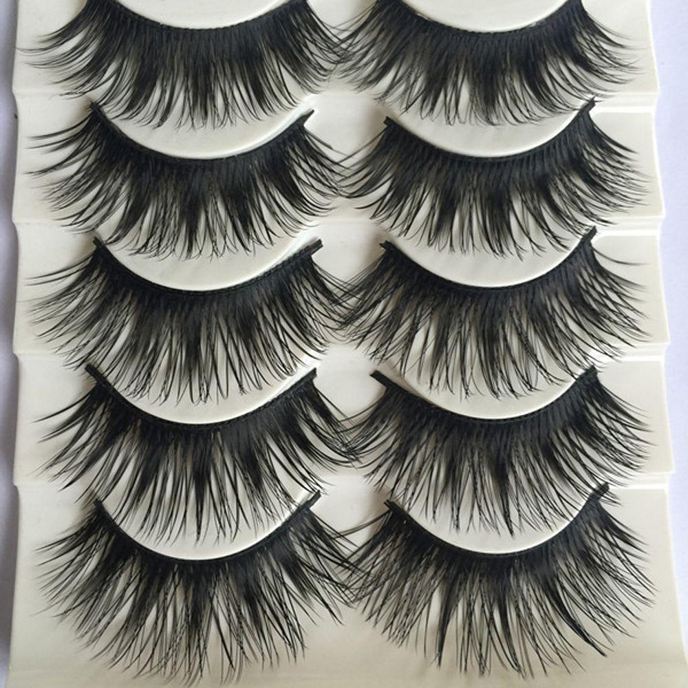 Popolare 10 paia / set Bellezza ciglia lunghe Ciglia finte trucco Ciglia finte Black Nautral Handmade Eye Lashes Extension