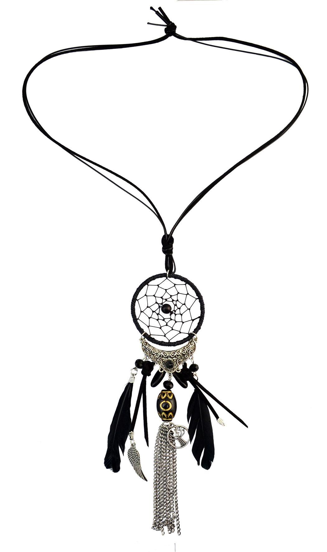 Idealway 4 Farben Mode Feder Leder Harz Perlen Dream Catcher Legierung Wings Kette Quaste Anhänger Lange Halskette
