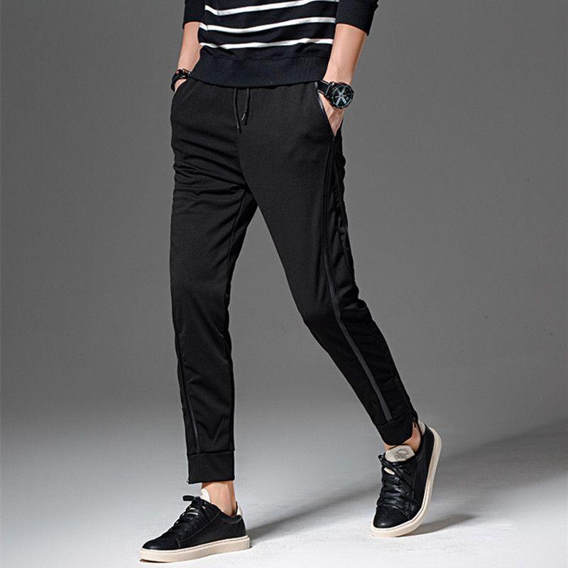 Gros- joggeurs Hommes pantalons masculins pieds minces occasionnels pantalon de couleur unie pour les hommes sarouel pantalons de survêtement liant pantalon fermeture à glissière pied Taille Plus 5XL