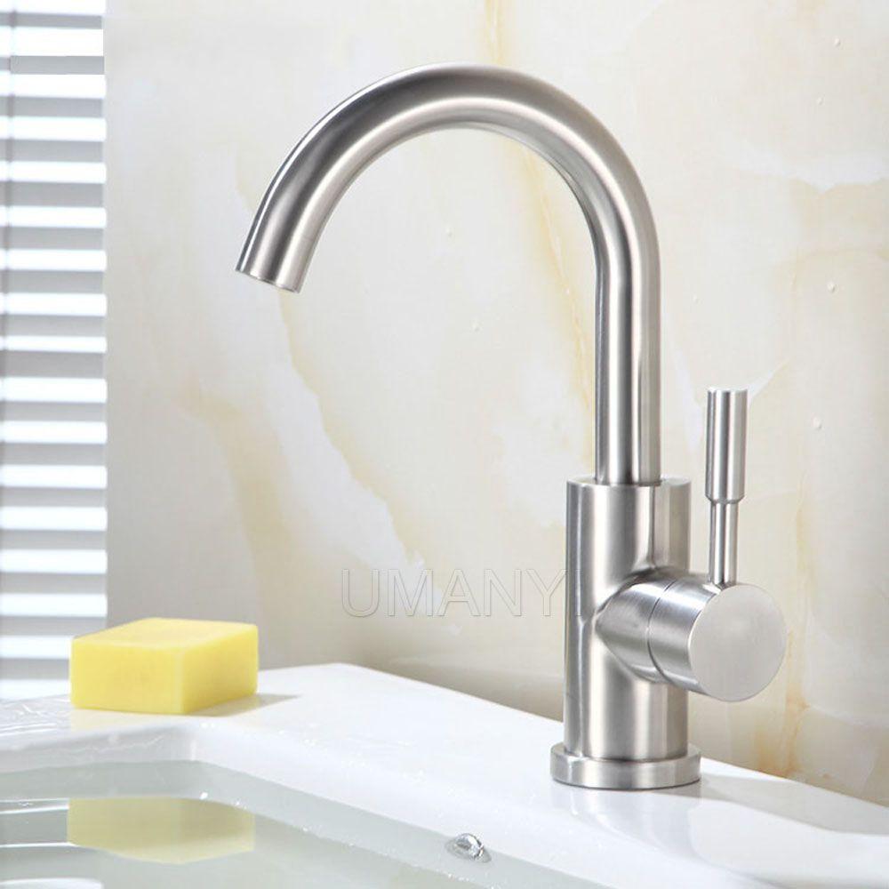 360 girevole beccuccio 304 bagno in acciaio inox rubinetti rubinetti nichel spazzolato singolo manico miscelatore a freddo caldo deck mounted lavabo rubinetti SSMP032