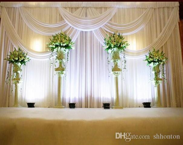 3*6m Wedding Party Stage Celebration Background Satin Curtain Drape Pillar Ceiling Backdrop Marriage decoration Veil WT016