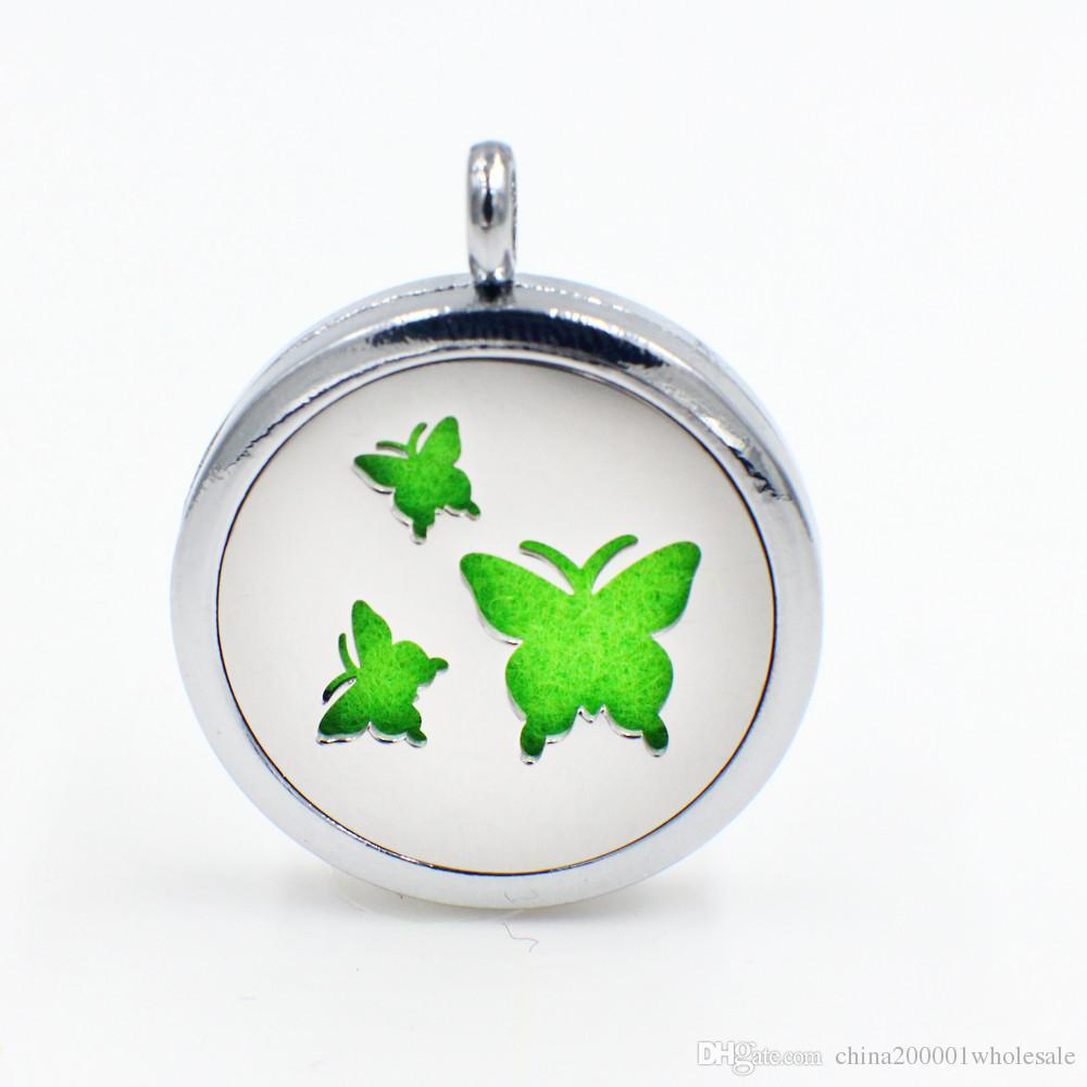 Profumo farfalla magnetico Aromaterapia olio essenziale diffusore Locket galleggiante ciondolo medaglione (feltrini in modo casuale liberamente) XX138