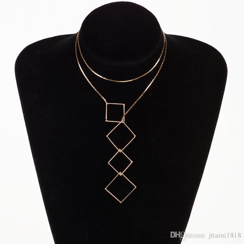 빈티지 스타일 세련 된 Y 모양의 여성을위한 골드 컬러 목걸이 줄 원 Laliat 목걸이 펜던트 # N086
