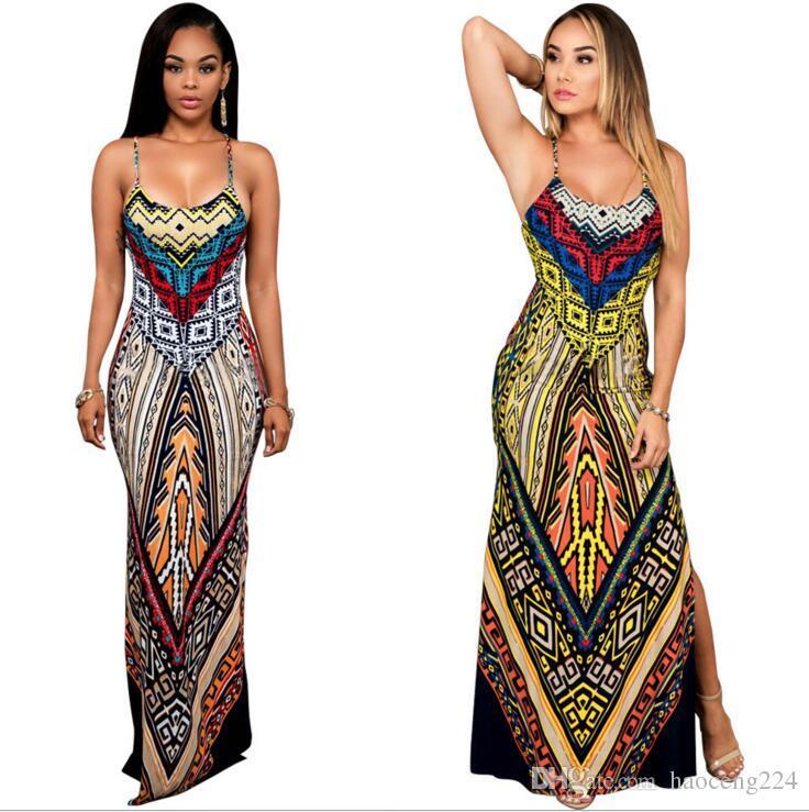 European America Hot sale Women dress National Print Fashion Long Dress Sleeveless Split Backless Bodycon Maxi Dress Free Shipping
