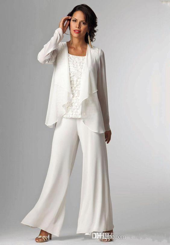 Elegant White Chiffon Lady Mother Pants Suits Mother of The Bride Groom mother bride pant suits With Jacket Women Party Dresses trouser suit