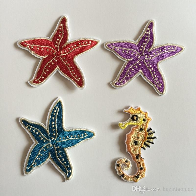 Artificial Starfish Decoration Costume Patches,Seahorse Embroidery Clothes Patch,Sew On,Iron-on Patch,Appliques For Biker,Jacket
