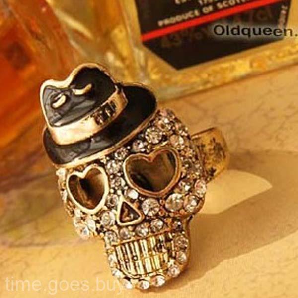 شعبية للجنسين الرامي قبعة سوداء الكريستال الماس الجمجمة القراصنة تمتد الدائري هدية # R48
