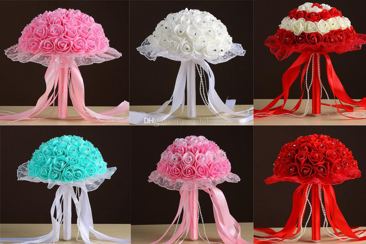 Wholesale Best Seller Wedding Bouquets Lace Rhinestones Turquoise/Pink/White/Red Handmade Flowers Artificial Bridesmaid Bouquet Silk Ribbon