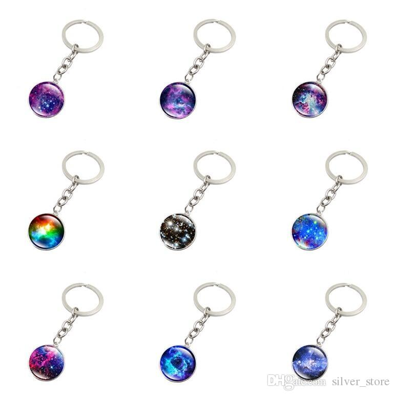 New arrival Explosive Galaxy Star Time Gemstone Keychain Pendant Key Chain KR146 Keychains mix order 20 pieces a lot