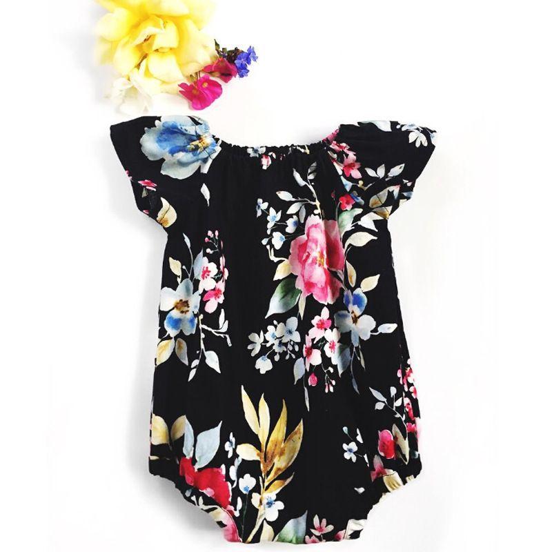 0-2T için bebeklerin çocuklar kıyafetler romper bebek kız yaz çiçek romper yaz siyah çiçek kısa kollu