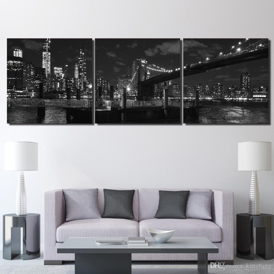 3 Pieces Canvas Painting Printed Brooklyn Bridge New York Wall Art Canvas Pictures For Living Room Bedroom Home Decor up-1255C
