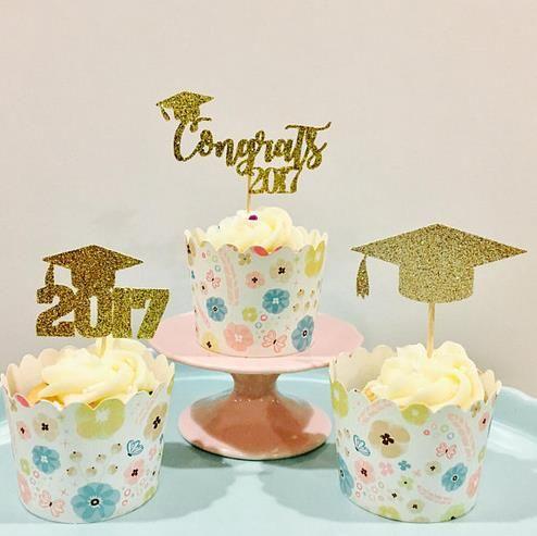 NEW Custom Glitter 2017 graduation Cupcake Toppers kids birthday rustic Wedding Bridal Shower Engagement Party food picks cake decorations