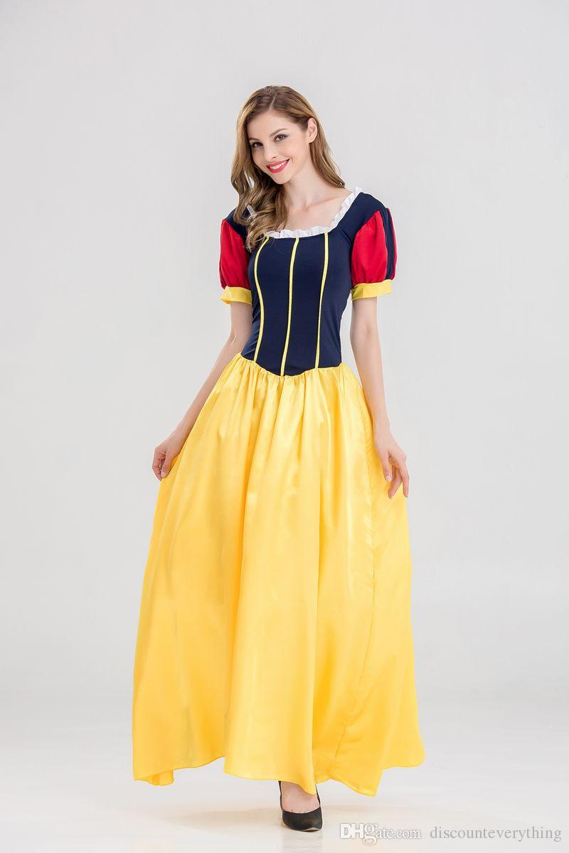 Snow White Adult Costume Princess Cosplay Dress Halloween Party Fancy Ball Gown