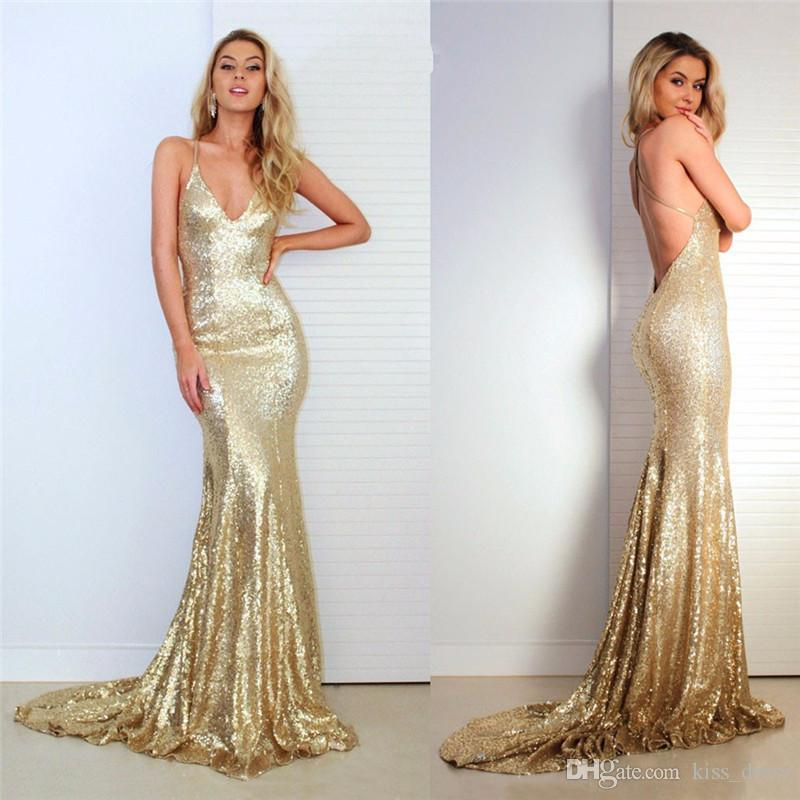 Bling Bling Gold Evening Dresses Mermaid Style Court Train Spaghetti Strap Sexy Backless Sequined Prom Party Gowns Vestido de Festa E212