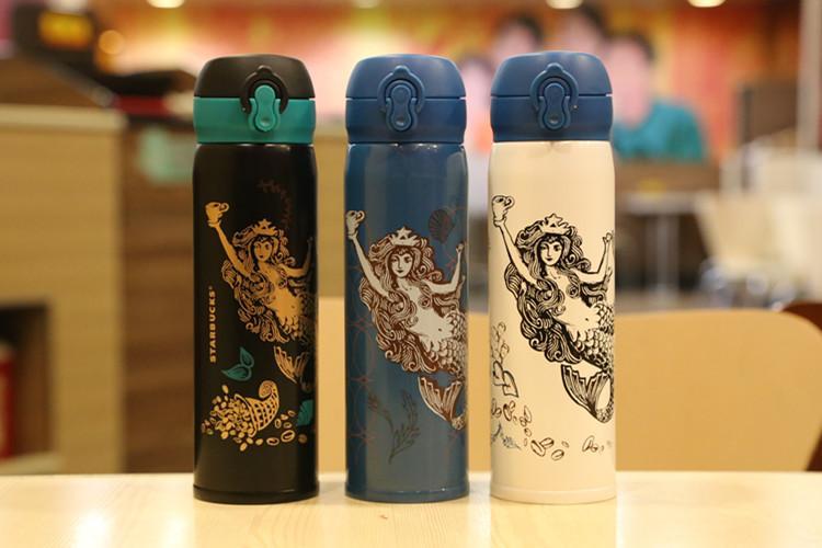 Classic Starbucks Mermaid Coffee Cup 420ml Mermaid Princess Stainless Steel Insulation Cup Vacuum Mug Ourdoor Accompanying Cup Reusable Water Bottles