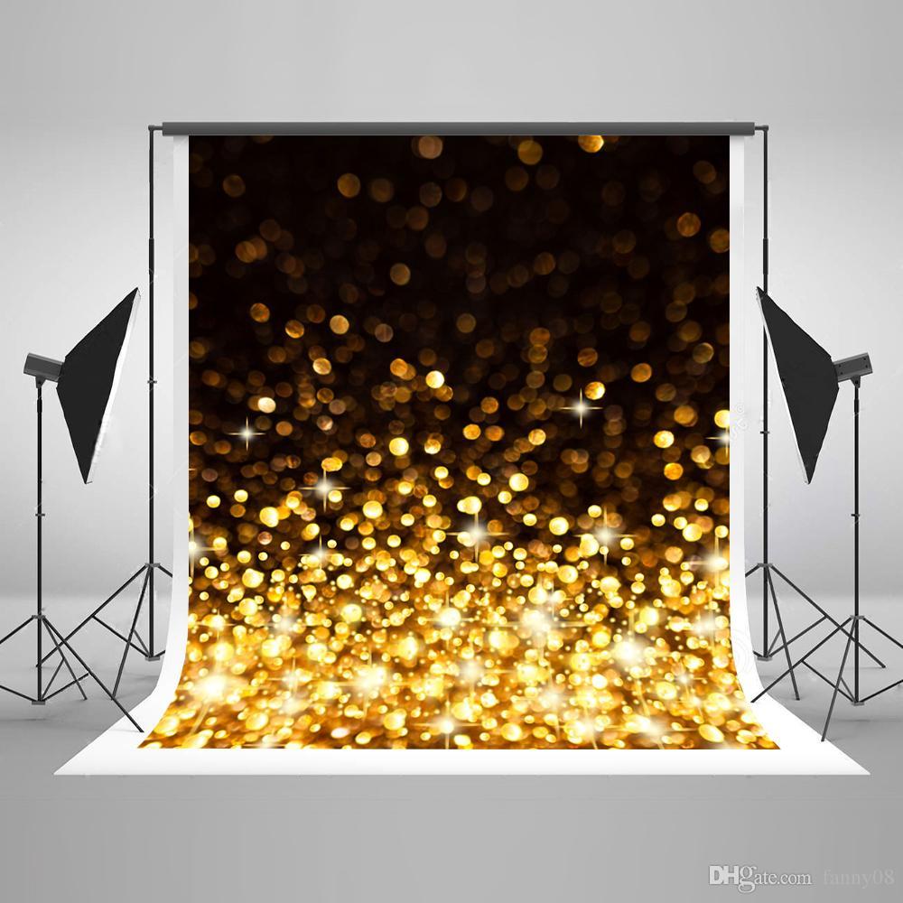 5x7ft (150x220 cm) Material Sem Costura Fundos Fotográficos Glitter Ouro Pontos Foto Cenário para o Aniversário Do Bebê Estúdio de Fundo