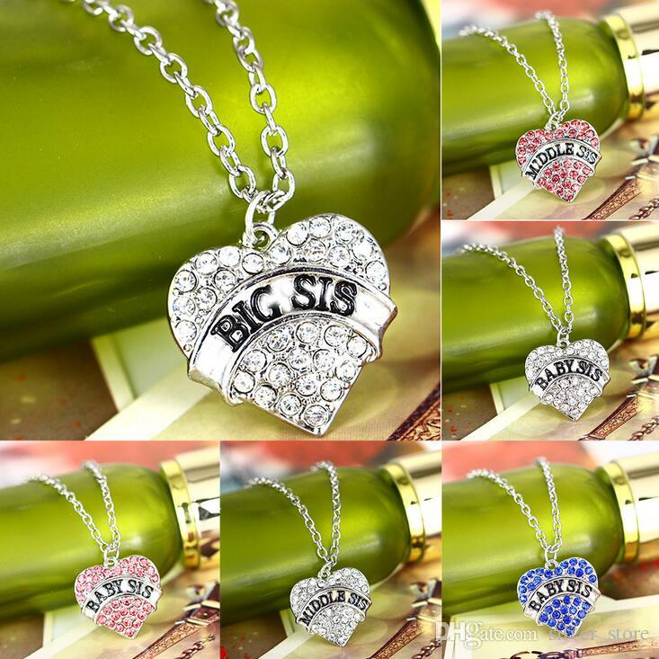 Free shipping Selling big sis little sis peach heart diamond pendant necklace WFN031 (with chain) mix order 20 pieces a lot