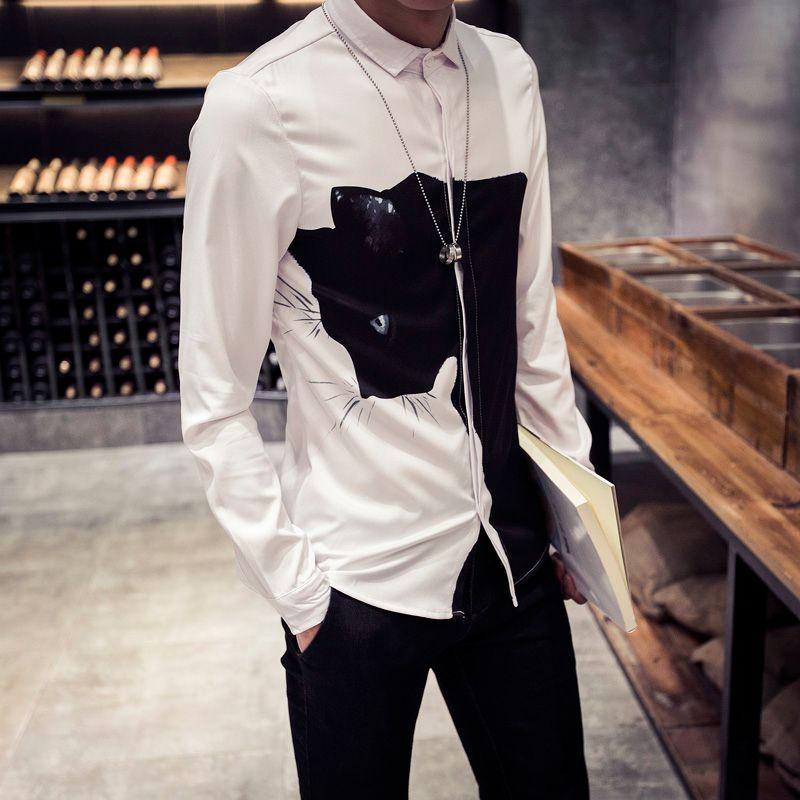 All'ingrosso- 2016 New Fashion 3D Print Animal Shirts Uomo nero / bianco Digital Cat Shirt manica lunga Slim Fit Camicie casual da uomo 5XL