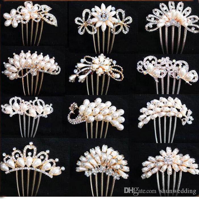 Braut Haarnadel Peacock Pearl Blumen Hochzeit Kristall Strass Perle Blume Haarnadel Diamante Clip Haar Kamm Pin Kamm