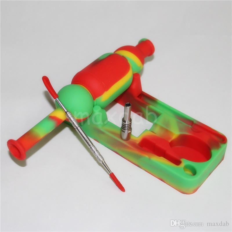 10mm Mini Silicone Nectar Collezionisti kit con 10mm maschio domeless ti Nail nector collettore piattaforme petrolifere Tubi di acqua di vetro bong in silicone DHL