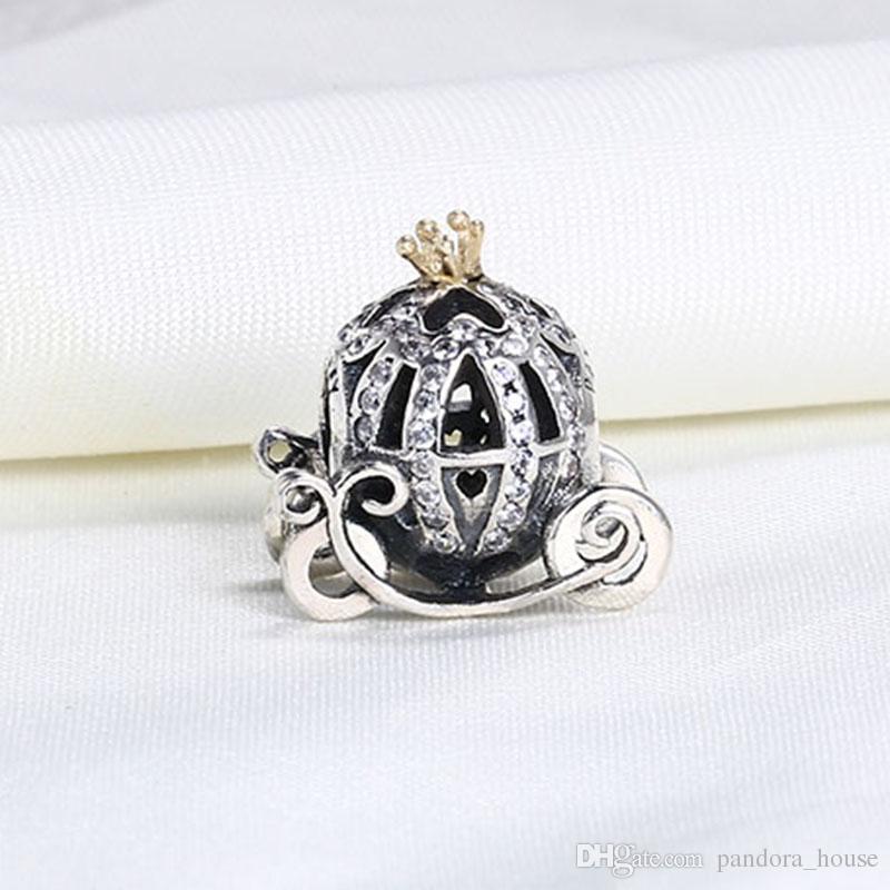 Gros Real 925 Sterling Silver Gold Plaqué Mignon Citrouille De Voiture Charmes Européennes Perles Fit Pandora Serpent Chaîne Bracelet DIY Bijoux