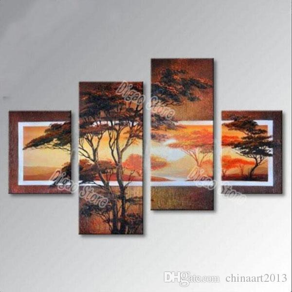 4 Stücke reines handgemaltes Landschaftsölgemälde auf starker Segeltuchkiefer malen modernes Hauptwandkunst-Dekorationgeschenk