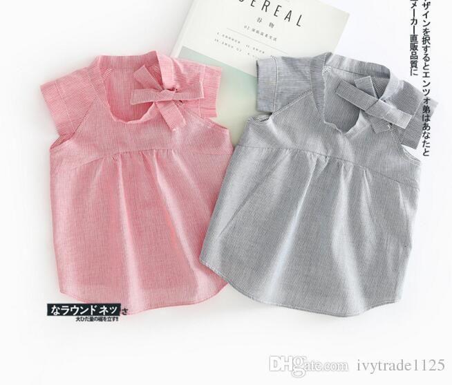 2017 INS NEW ARRIVAL Mädchen Kinder Shirt ärmellos runder Kragen gestrippt Print Shirts Kind Baby 100% Baumwolle Sommer lässig elegantes Hemd