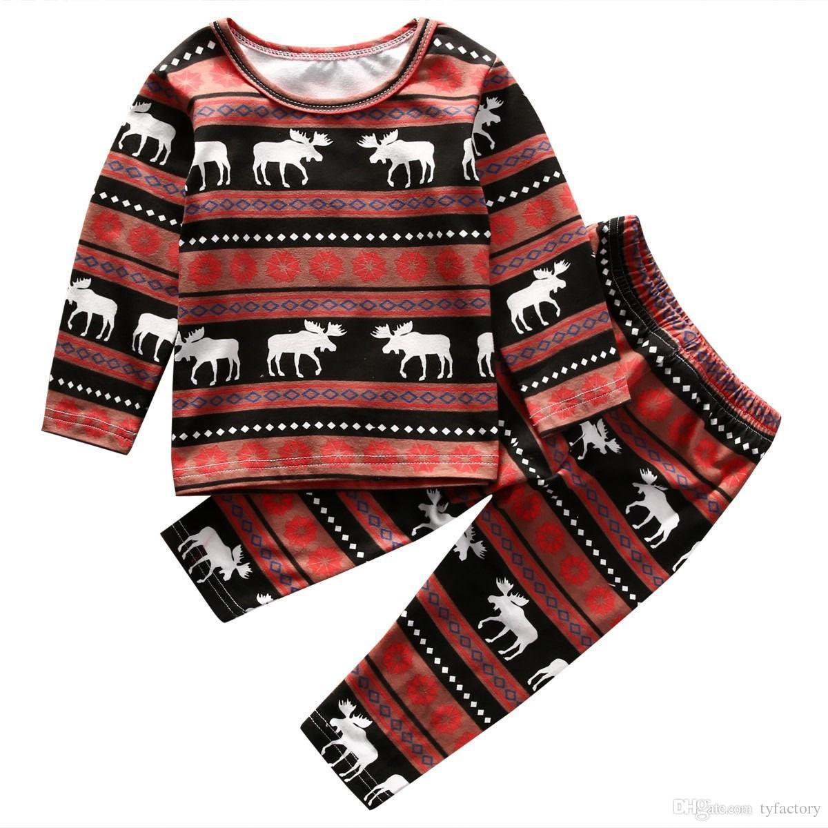 Christmas Family Matching Pajamas deer printed Kids fashion clothes baby girls boys Nightwear Cotton top+pant 2-piece outfits kid XMAS wear