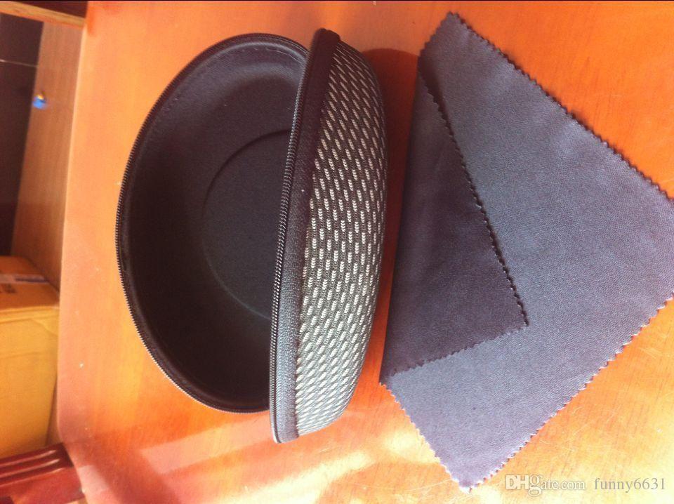 Estuche rígido A ++ Caja de gafas de sol con gancho de cremallera Gafas de compresión Estuche Gafas de metal negro plástico plástico Caja de gafas de sol + paño envío gratis