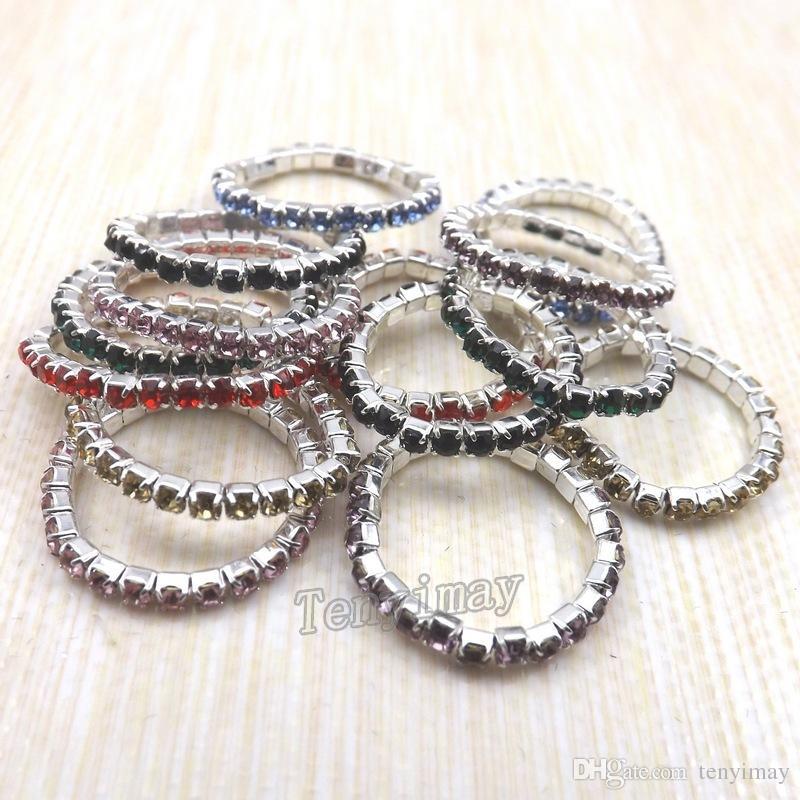 패션 탄성 크리스탈 반지는 50pcs의 소녀 Stretchy 크리스탈 반지 팩을위한 믹스 컬러 무료 배송