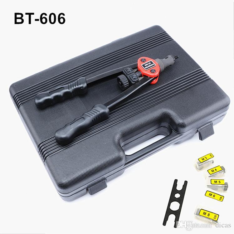 무료 배송 뜨거운 판매 수동 당김 리벳 너트 건 Riveting 도구 BT-606과 너트와 M3, M4, M5, M6, M8 전문 플라스틱 상자