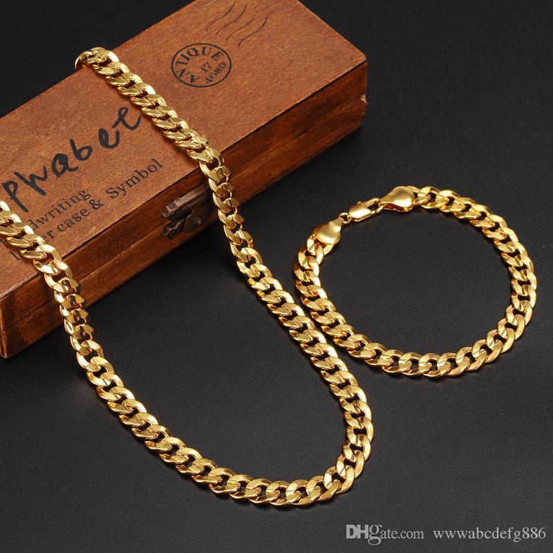 Klasikleri Moda Gerçek 24 K Sarı Altın GF Mens Kadın Kolye Bilezik Takı Setleri Katı Curb Zinciri Aşınma dayanıklı