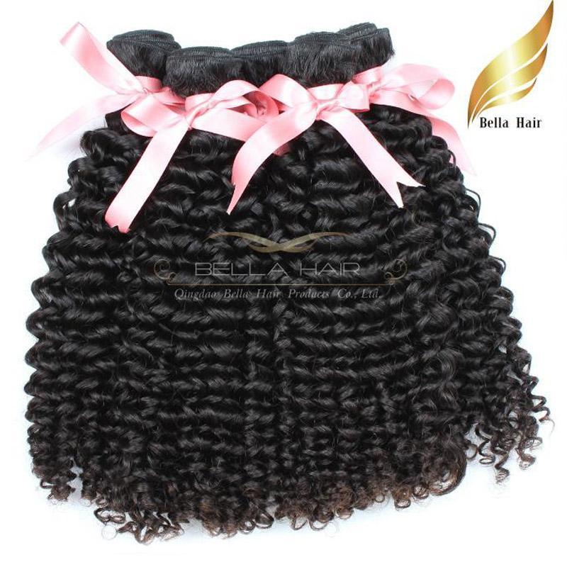 Перуанские вьющиеся волосы ткет Remy пучки человеческих волос 10-34 дюймов класс 9A 3 шт. много естественный цвет Bellahair
