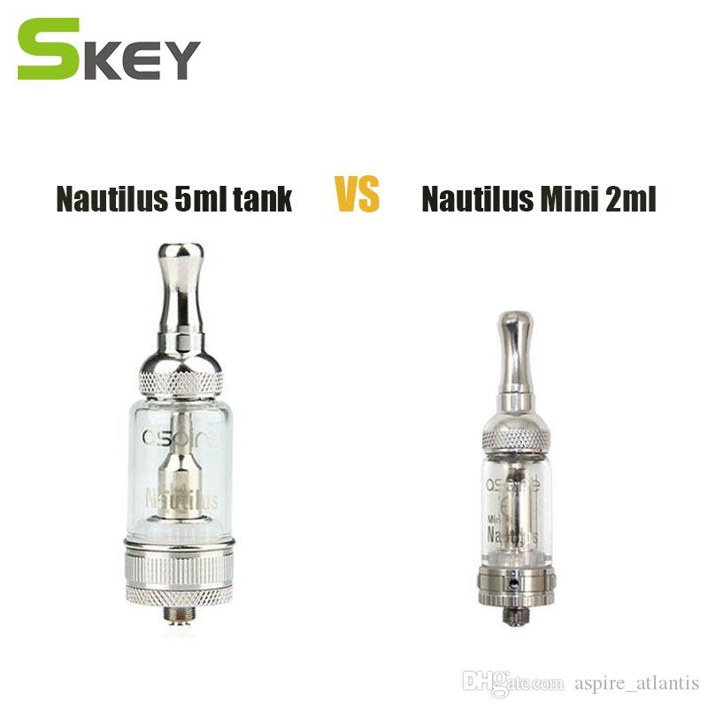Aspire Nautilus Clearomizer 5ml 2ml With Vaporizer Nautilus Replacement BVC Coil Pyrex Glass Tank E Cigs Tanks