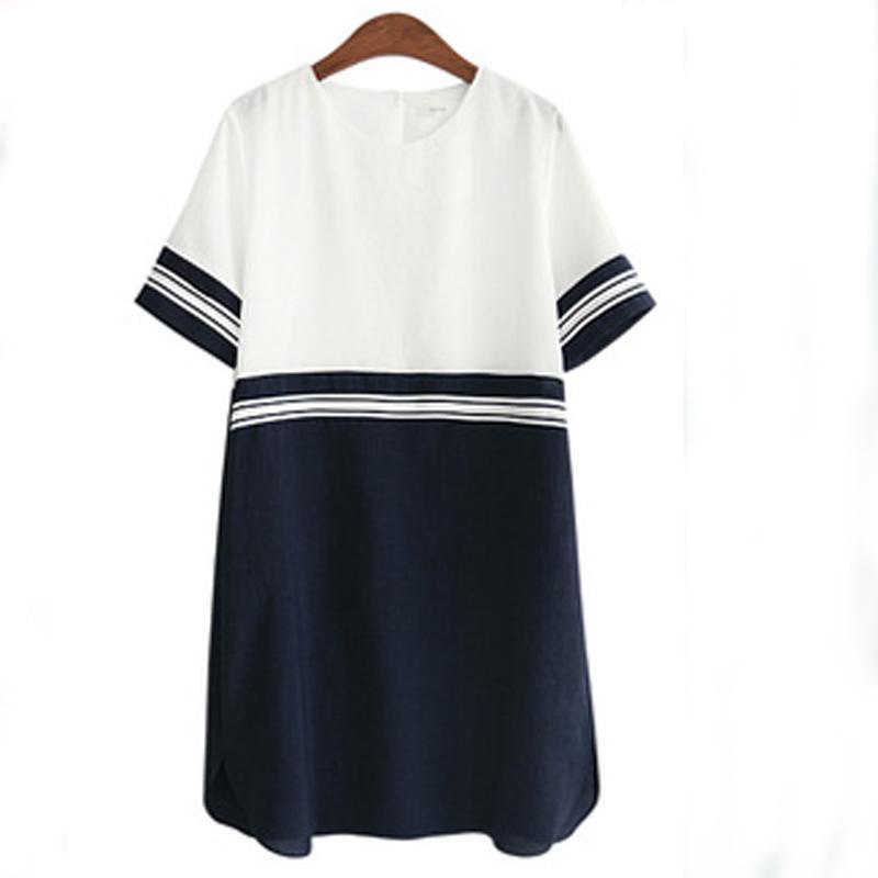 도매 - 2016 여름 플러스 크기 XL - 4XL 5XL 여성 마린 튜닉 드레스 오 넥 라인 의류 Tshirt 프린지 느슨한 교대 숙녀 로브 Vestidos