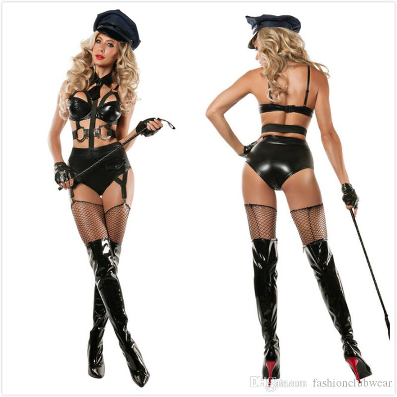 Hot Sexy Black Halloween Costumes For Women Police Role Play