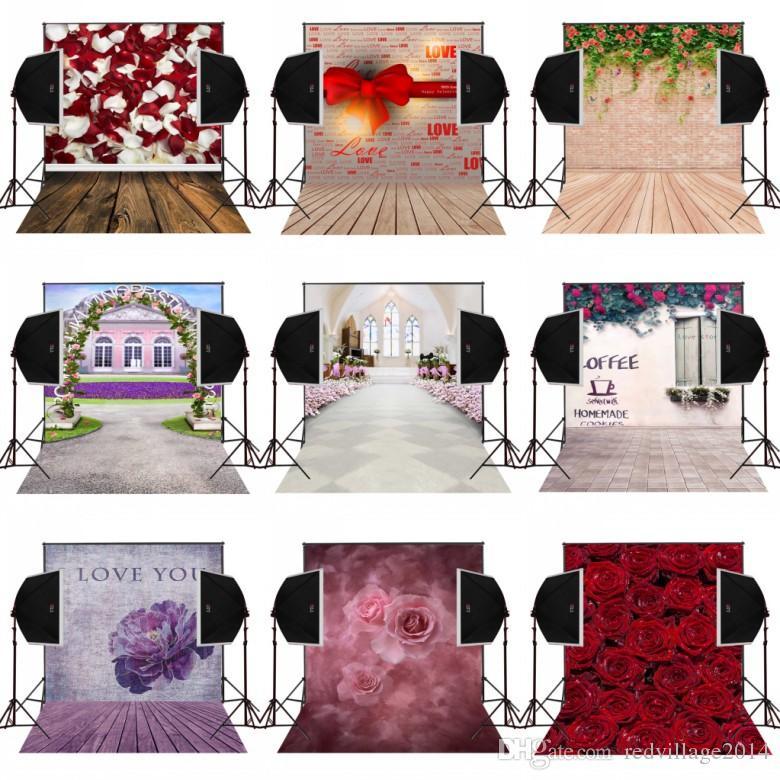 5x7FT ti amo fiori marrone legno foto sfondo per camera da letto fotografia studio fotografico puntelli vinile fotografia fondali panno digitale