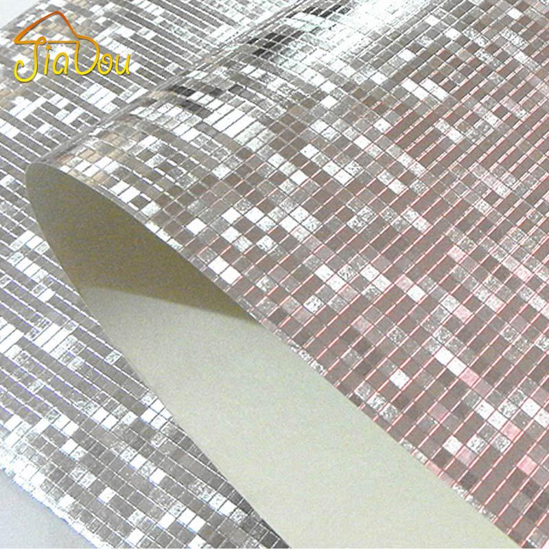 Wholesale-  Glitter Mosaic Wallpaper Background Wall Wallpaper Gold Foil Wallpaper Silver Ceiling Wallcovering Papel De Parede
