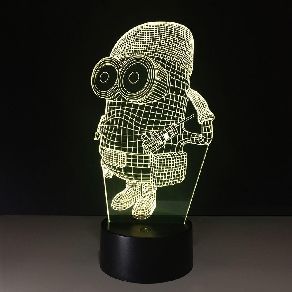 3D Minions Illusion Lamp Night Light DC 5V USB Charging 5th Battery Wholesale Dropshipping Free Shipping Retail Box