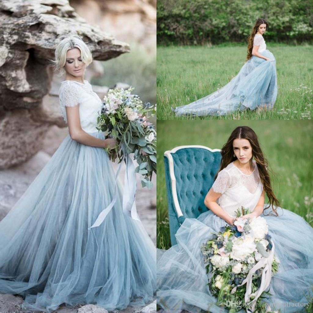 Discount Colorful Country Wedding Dresses 2017 Spaghetti Strap Puffy ...