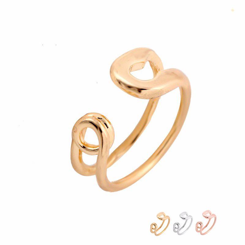 Venta al por mayor Divertido Gran Pin de Seguridad Anillo Ajustable Anillos Oro Plata Rosa Chapado En Oro Simple Joyería Para Las Mujeres EFR080