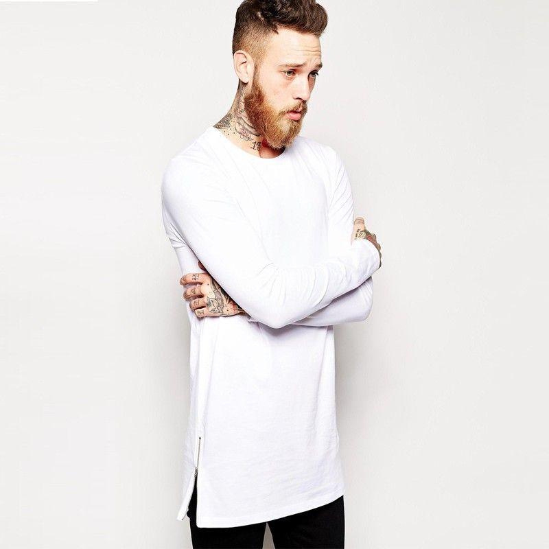 Moda Yüksek sokak hip hop İstek erkek uzun kollu tee yan fermuar dekorasyon 100 pamuk uzun kollu T-shirt