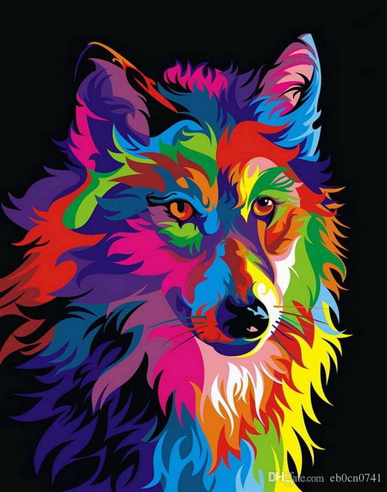 홈 오피스 장식 거실 예술 벽 장식 HD 인쇄 동물 색 늑대 유화 캔버스에 인쇄 된 그림