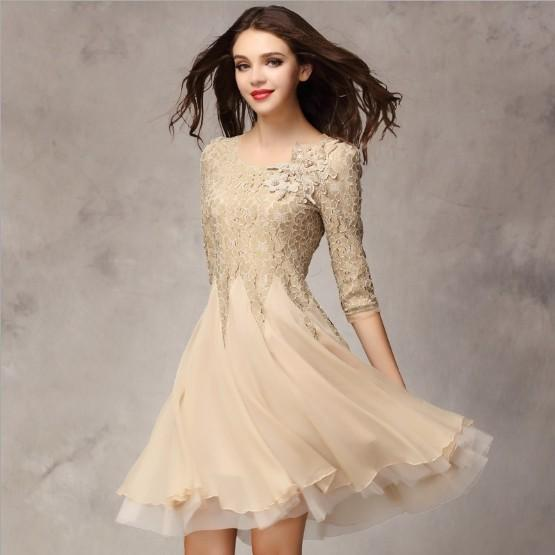 2016 Spring Summer Womens Fashion Organza Dress Knee Length Lace