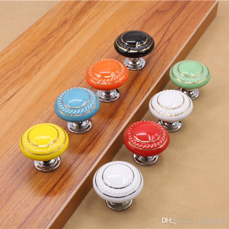 8 Colors European Cabinet Ceramic Door Pulls Handles Round Knobs Cupboard Drawer