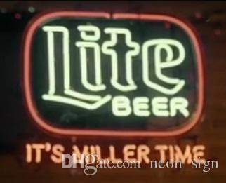 "Miller Lite Beer Neon Sign Custom Handcrafted Real Glass Tube It's Miller Time Bar Club Pub KTV Advertising Display Neon Signs 24""X20"""