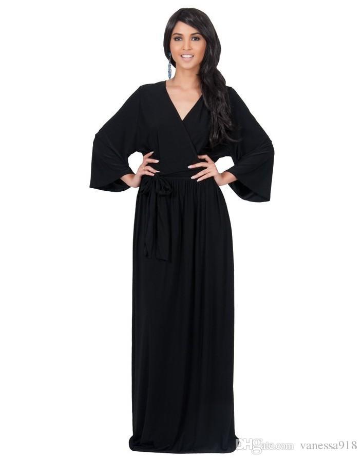 2019 Super Plus Size Long Women Dress Black Color Oversized Fat Ladies  Dresses Comfortable Evening Long Sleeve Dress LMT 060 From Vanessa918,  $24.13   ...