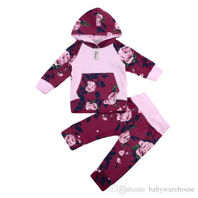Neugeborenes Baby Kleidung Set Frühling Herbst Cartoon Blume Mit Kapuze T-Shirt + Floral Hosen 2 Stücke Lila Druck Kinder Mädchen Kleidung Sets