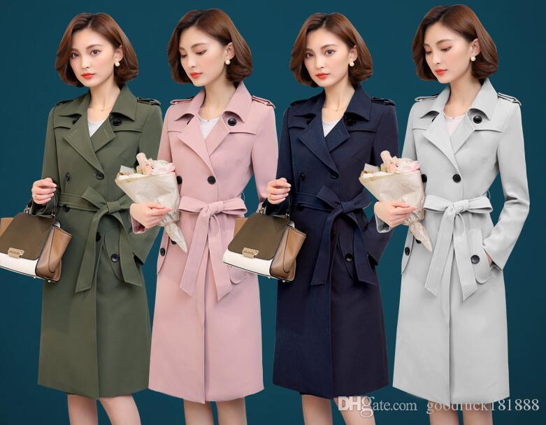 Nowa Wiosna Kobiety Z Długim Rękawem Trench Coats Lapel Lapel Dwukrotnie Płaszcz Dust Girls British Style Windbreaker z Waistbelt